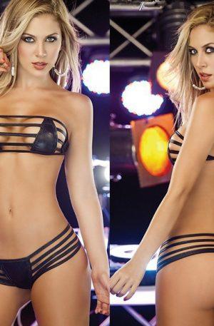 Set bikini si sutien negru din imitatie piele