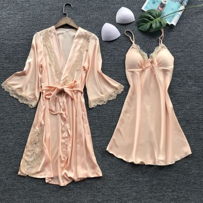 Set halat si rochita de noapte roz