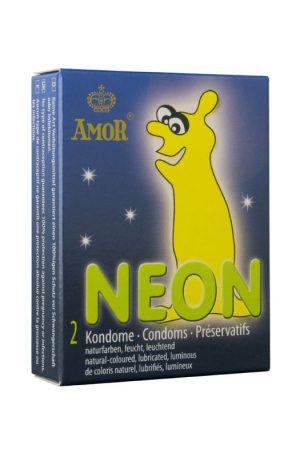 AMOR Prezervative neon sau fosforescente 2 piese in cutie